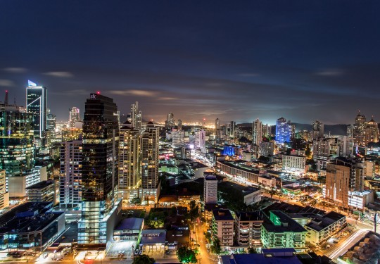 fotografia de arquitectura ciudad de panama  - Skyline from roof top Sortis Hotel, Panama city